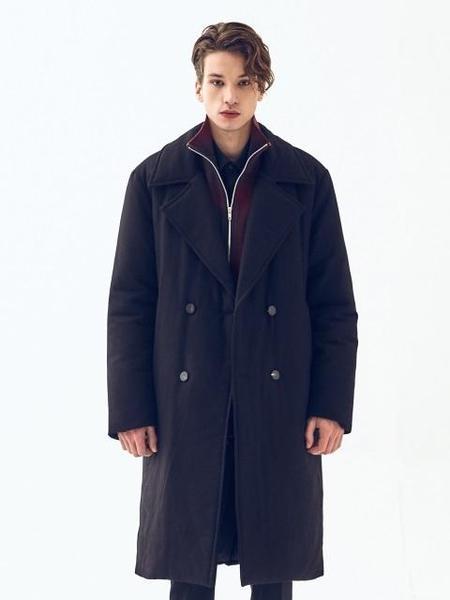 ADD Long Padding Trench Coat - Black