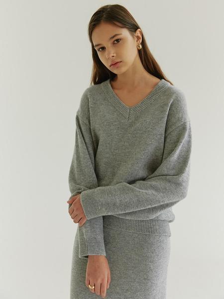 HIER V Neck Merino Wool Sweater - Gray