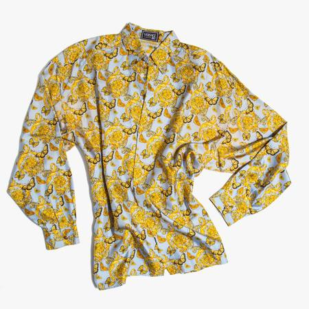 Vintage Kindred Black Gianni Versace 1990's Silk Butterfly Print Shirt