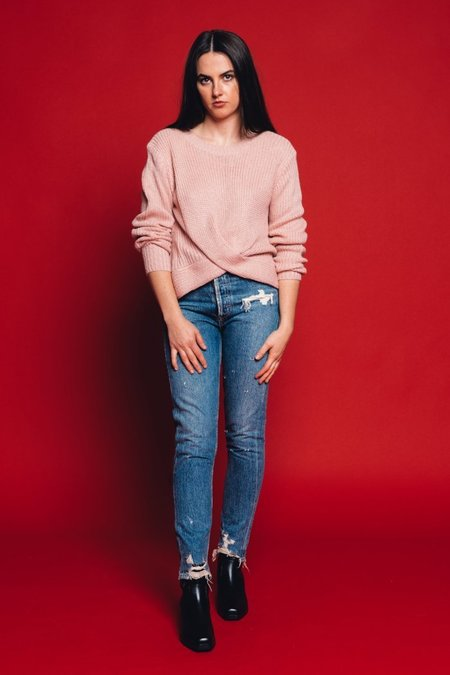 Pipe And Row Staples Joanne Twist Sweater - Light Pink