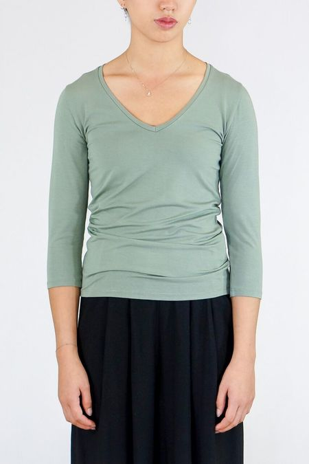 Majestic Soft Touch 3/4 Sleeve V- Neck Top - New Army Green