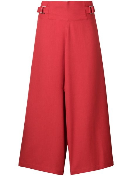 132 5. ISSEY MIYAKE Cropped Wide Leg Trousers - red