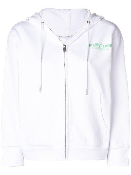 HELMUT LANG Front Zip Logo Hoodie - white