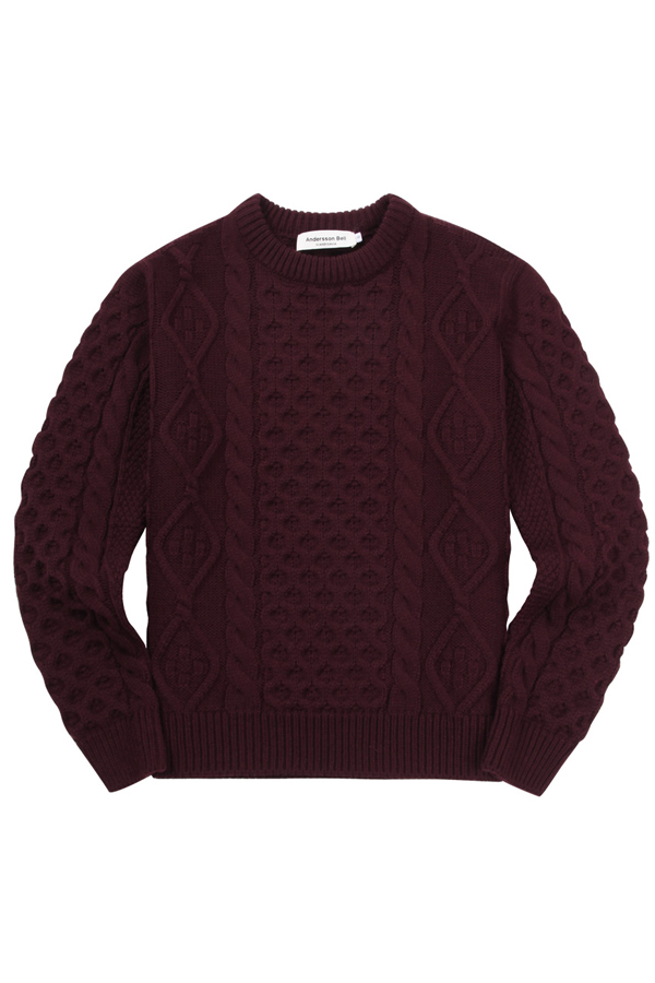 ANDERSSON BELL Aran Cable Sweater- Burgundy