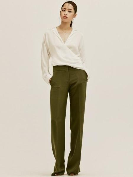 Avouavou Silk Stitch Wide Pants - Khaki