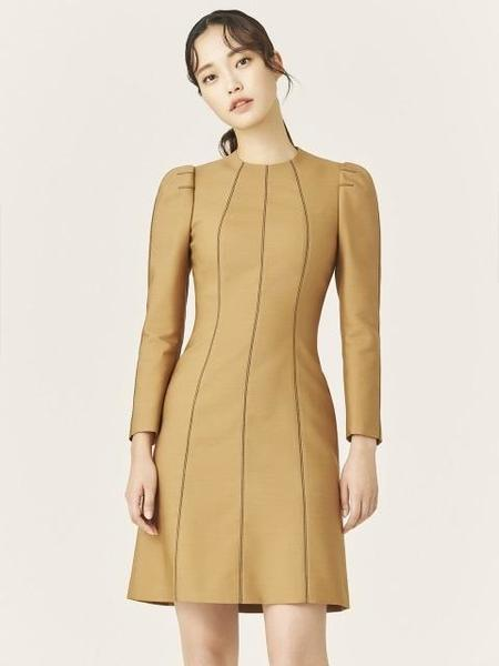 Avouavou Wool Silk Stitch Mini Dress - Camel