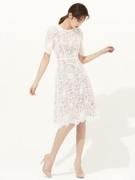 Avouavou A-Line Crochet Lace Dress - White