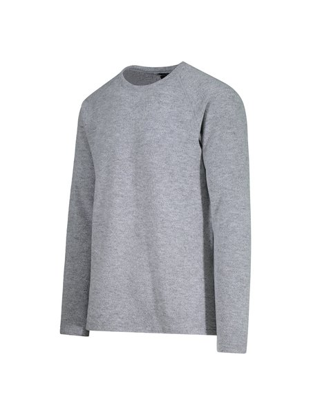 Wings + Horns Knit Felted Wool Crewneck - Heather Grey
