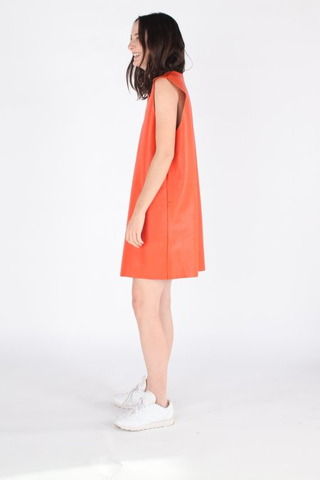 Ashley Rowe Shell Leather Dress - Bright Orange