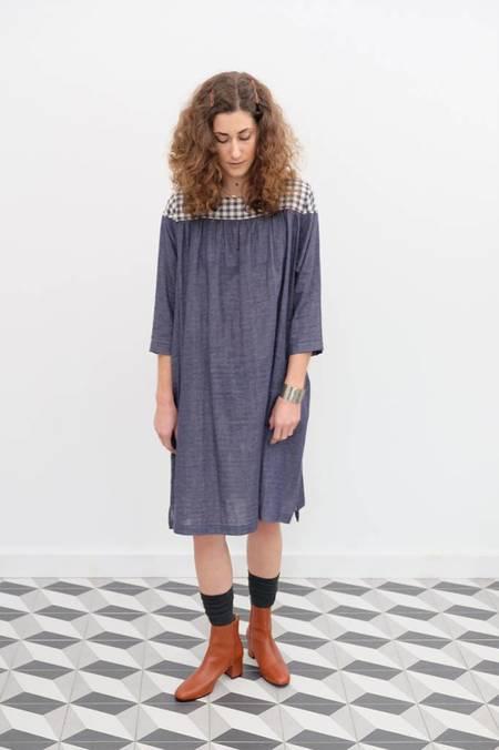 wrk-shp Arne Yoke Dress - Indigo Gingham