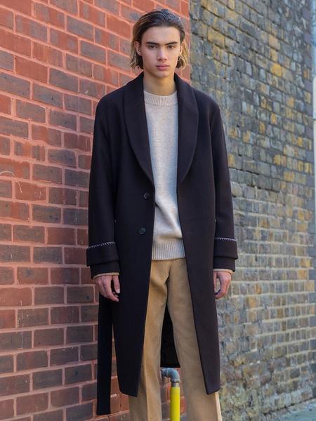 BELIER Stitch Wool Robe Coat - Brown