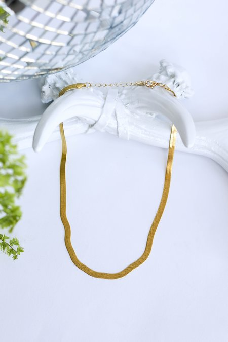 CAM Jewelry Flat Snake Chain Layering Necklace - Gold
