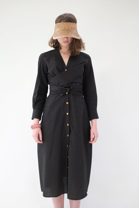 Heinui Leonard Dress - Black Seersucker