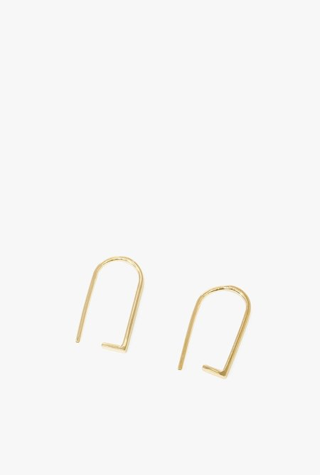 Honey & Bloom Line Hook Threader Earrings - Gold Vermeil
