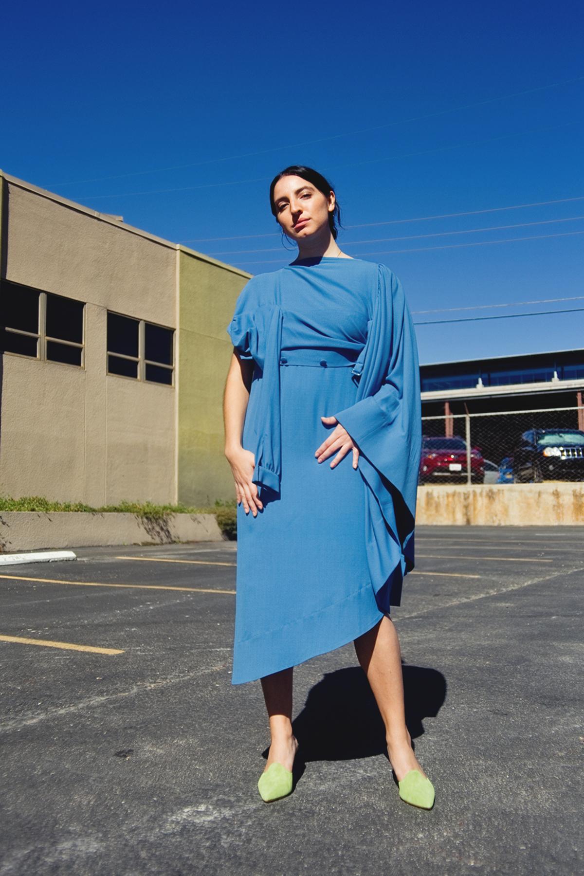 9890a03c9 Las Cruxes Vintage Margiela x H&M Horizontal Shirt Dress - Sky Blue ...