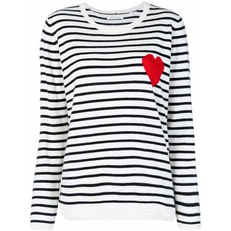Chinti and Parker Breton Heart Sweater - Cream/Navy/Red