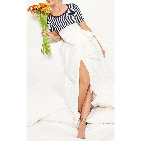 MDS Stripes Button Front Skirt - Oval Eyelet