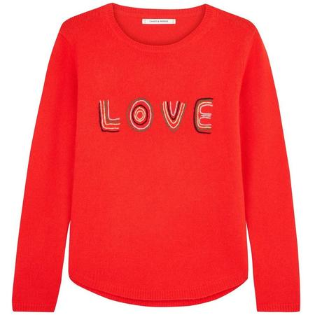 Chinti and Parker Embroidered Love Sweater - Flame