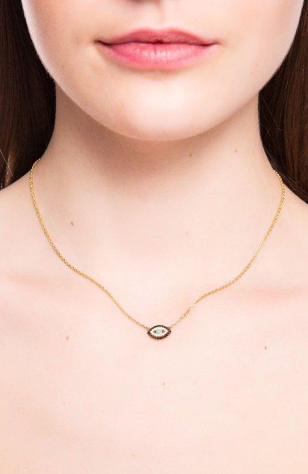 BETTINA JAVAHERI Diamond Evil Eye Necklace with Turquoise Center