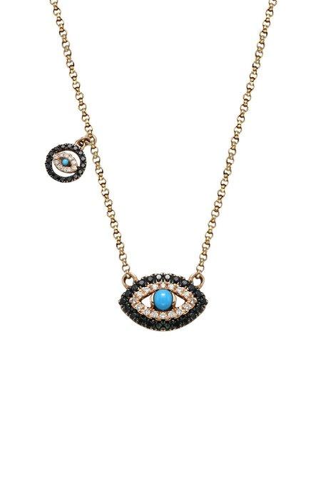 BETTINA JAVAHERI Double Diamond Evil Eye Necklace with Charm