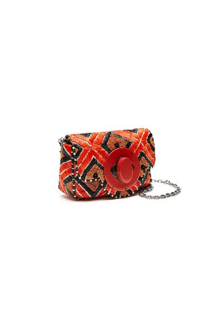 Maliparmi small raffia festive clutch crossbody bag - MULTI