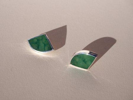Octave Jewelry Fan Stud Earrings - Nephrite Jade