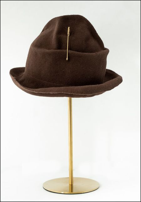 Claudia Schulz Hand Formed Hat with Safety Pin - BROWN