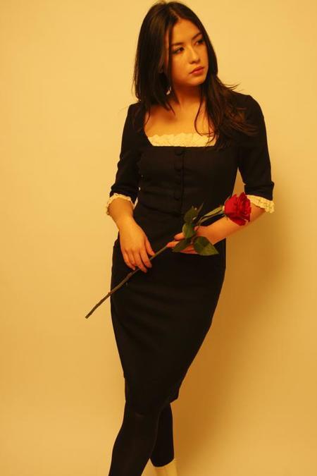 l'ecole des femmes SQUARE NECK FRENCH MAID DRESS - BLACK