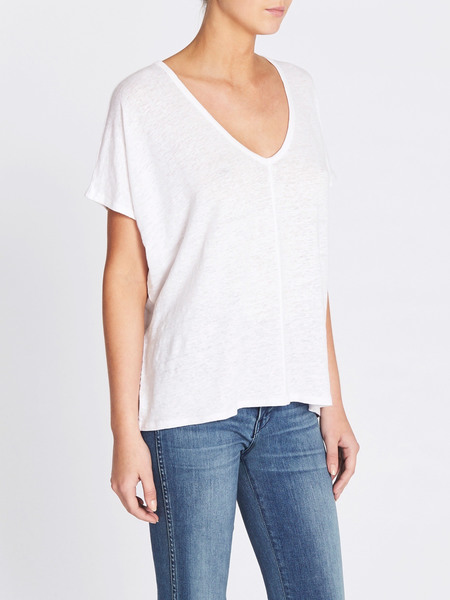 Chaser LA Double V-neck Oversized Linen Tee - White
