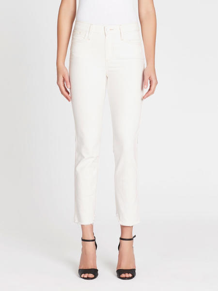 """Paige Hoxton Straight Ankle 27"""" Jean - Cream/Pink"""
