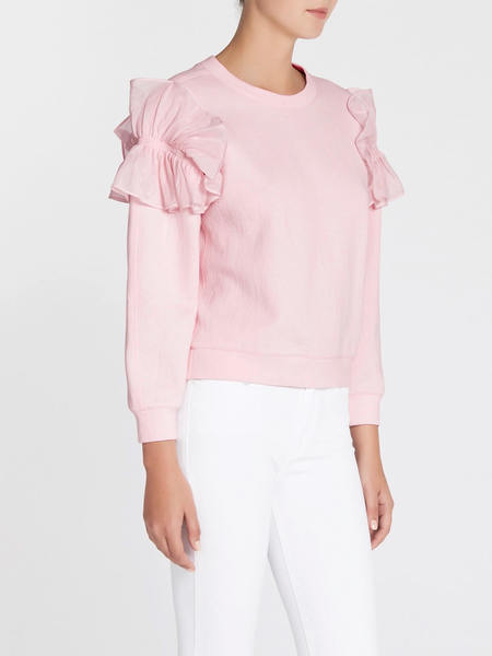 Rebecca Taylor Ruffled Terry And Organdy Sweatshirt - Light Pink