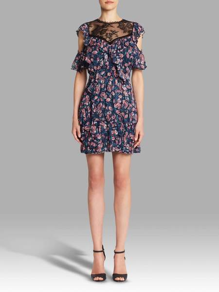 Rebecca Taylor Open Shoulder Tea Rose Dress - Floral