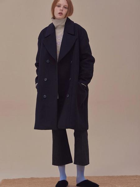 ANSWERING BIRD Evelyn Double Coat - Navy