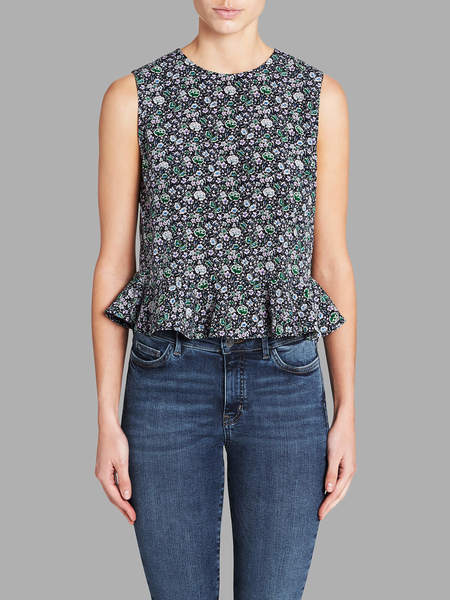 Rebecca Taylor Sleeveless Lavish Grid Top - Forest Combo