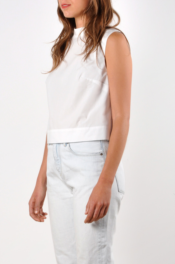 Waltz Mock Neck Sleeveless Top | Cotton Poplin