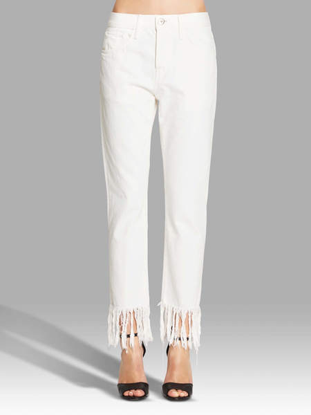 3x1 Wm3 Crop Fringe Jean - WHITE