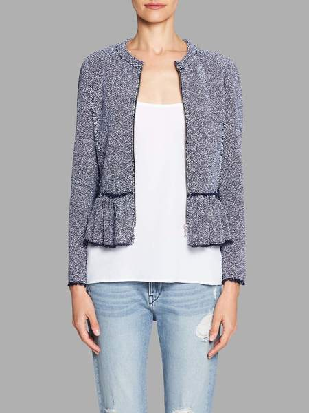 Rebecca Taylor Stretch Tweed Peplum Jacket - Indigo
