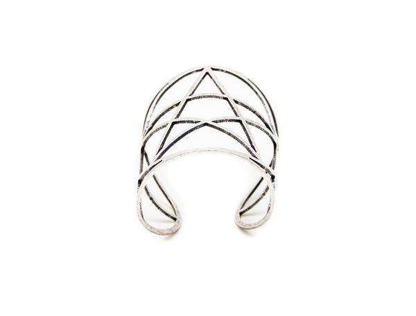 Pamela Love Mini Pentagram Cuff in Antique Silver
