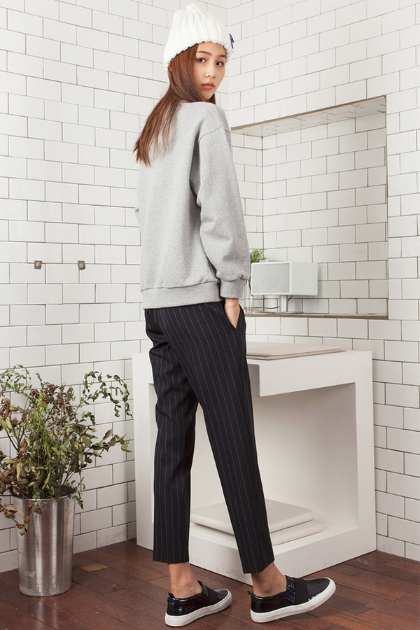 LOOKAST Pin Striped Trousers | Navy