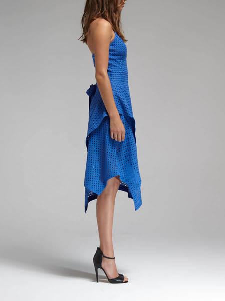 N / Nicholas Broderie Halter Ruffle Dress - Cobalt Blue