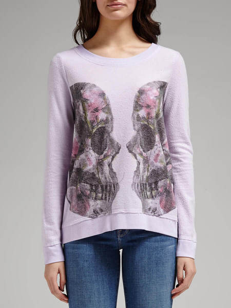 Chaser LA Twin Skulls Crew Neck Sweatshirt - Pink