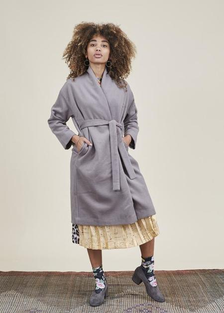 Evam Eva Angora Wool Robe Coat - Taupe Gray