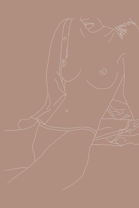 Drawn By Cave Kera Print - Nude/Green