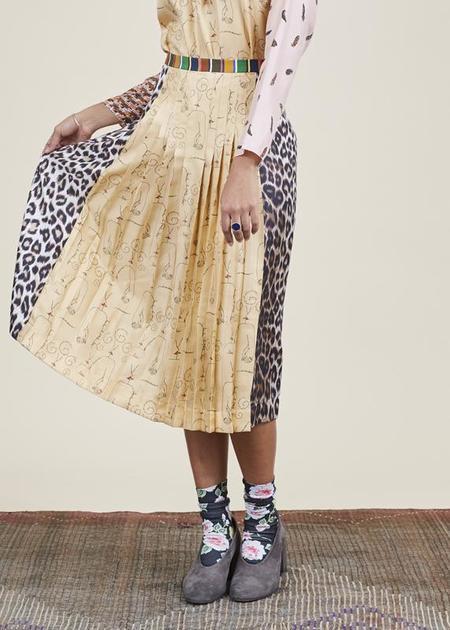 La Prestic Ouiston Sagan Pleated Silk Skirt