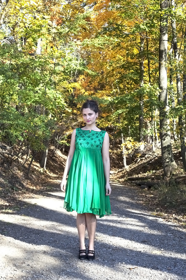 White Elephant Vintage Green Beaded Chiffon Dress