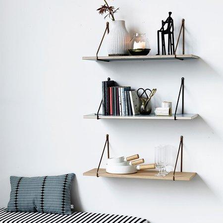 House Doctor veneered ply shelf with brass brackets - GREY