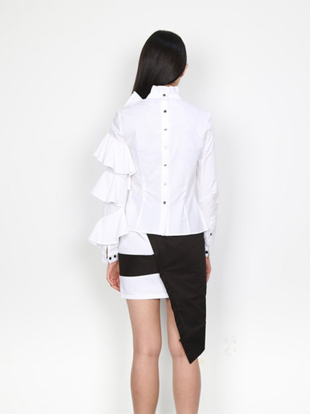 DOZOH Asymmetry Ruffle Blouse - White