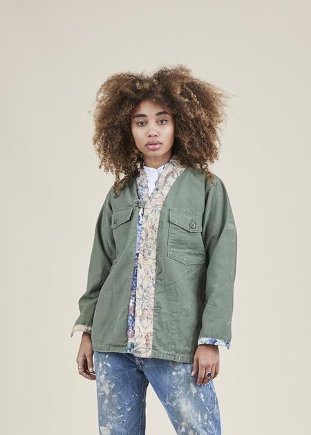 Atelier & Repairs Residency Long Sleeve Joplin Shirt - Olive/Floral