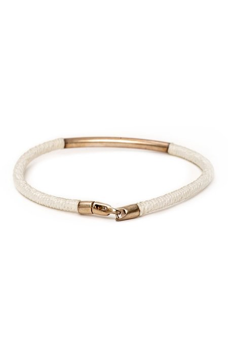 CAPUTO & CO Leather Sterling Silver Clasp Bracelet - White
