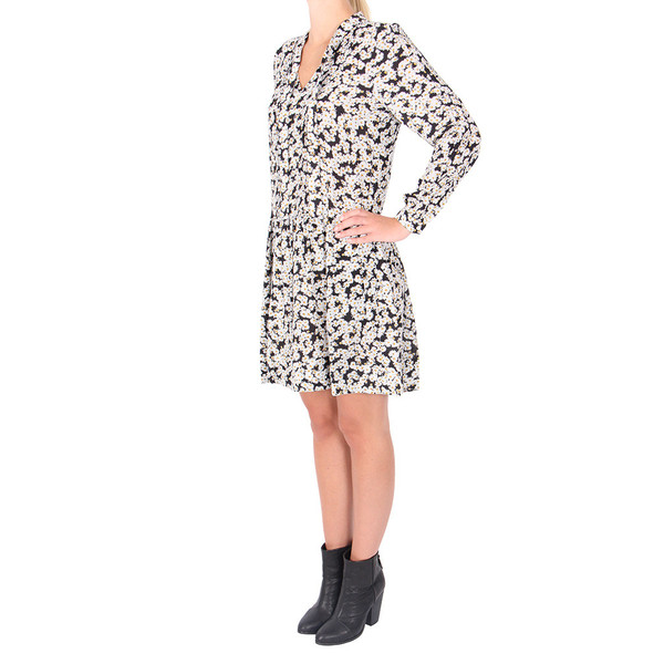 Sea Daisy Print Tied Pintuck Dress